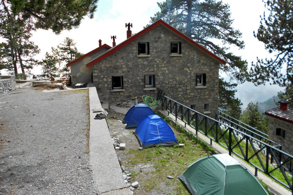 Facilities of the shelter and three tents in Spilios Agapitos yard.