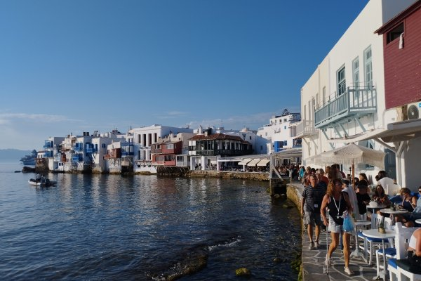 A picture of the Venetian Quarter (Little Venice) in the Chora (central settlement) of Mykonos.