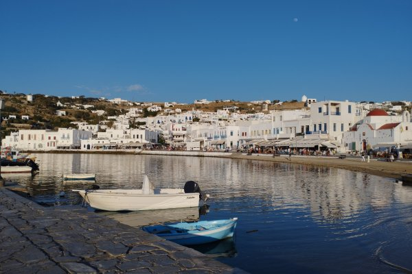 A panoramic photo of the Old port of Mykonos.