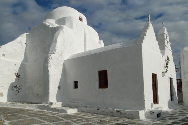 The exterior of Panagia Paraportiani Church in Mykonos.
