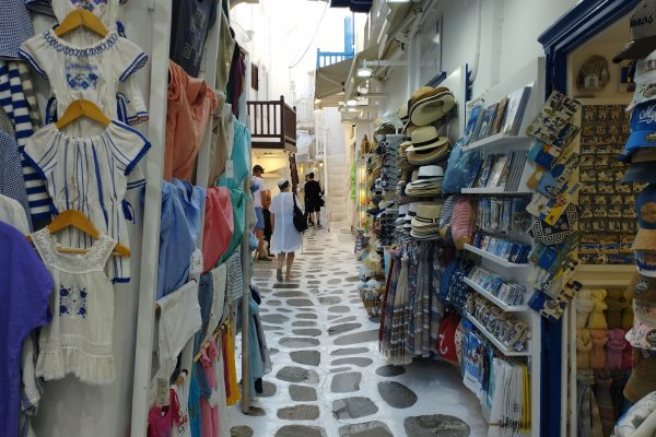 An overview of the Mykonos Town (Chora), the central settlement of the island.