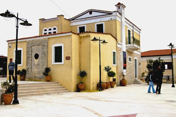 The exterior of the Nikos Kazantzakis Museum in Myrtia square.
