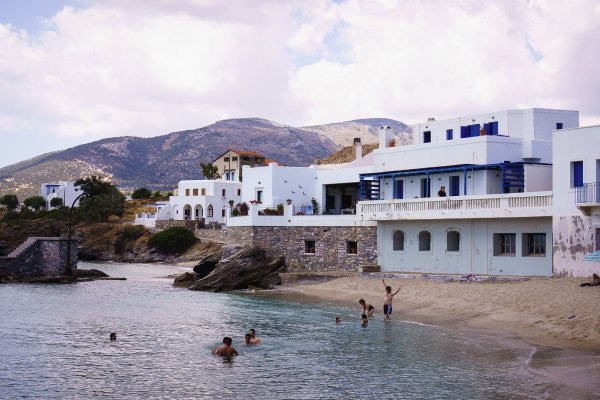The beach of Moutsouna on Naxos island just in front of the homonymous settlement.