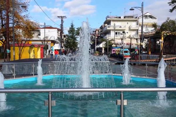 The fountain at the Central Square of Nea Kalikratia.