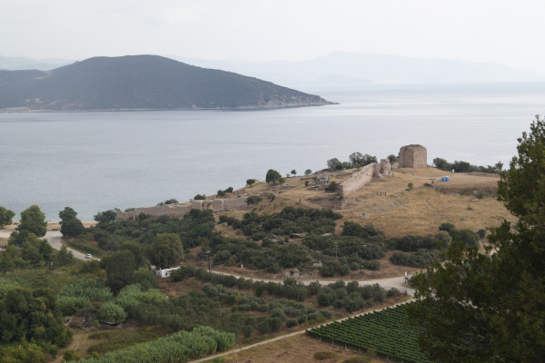 A panoramic picture of the hill that hosts the Ancient City of Anaktoroupolis at Nea Peramos.