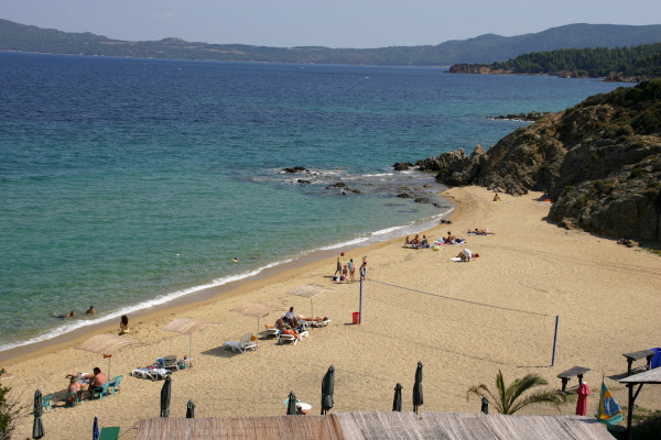 A panoramic photo that shows a part of the Voulitsa Beach at Nea Roda of Halkidiki.