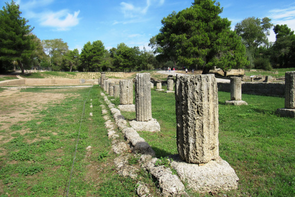 The ruins of the Ancient Gymnasium at Olympia.