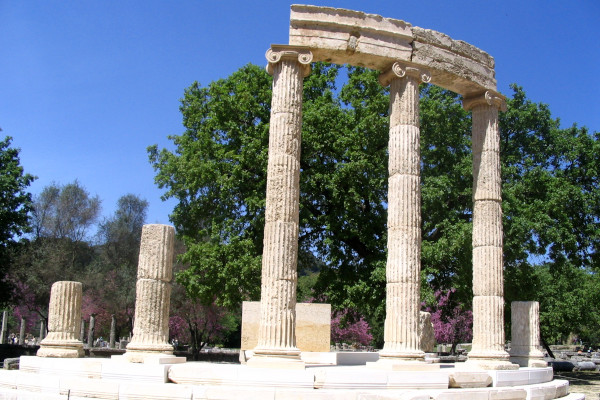 A photo showing the partial reconstruction of the Philippeion at Olympia.