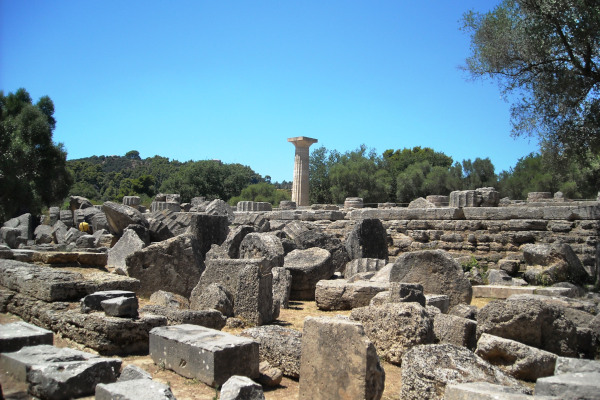 The remains of the Temple of Zeus at Ancient Olympia.