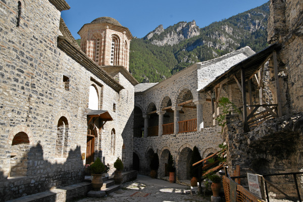 The inner yard, the main church, and the surrounding buildings of the old monastery of St. Dionysios.