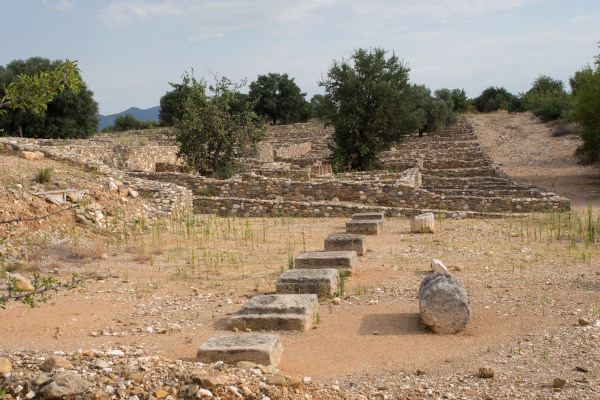Relics at the archaeological site of ancient Olynthos.