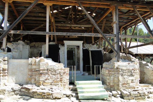 The remains and the main entrance of the main church of the ancient monastery of Zygos.