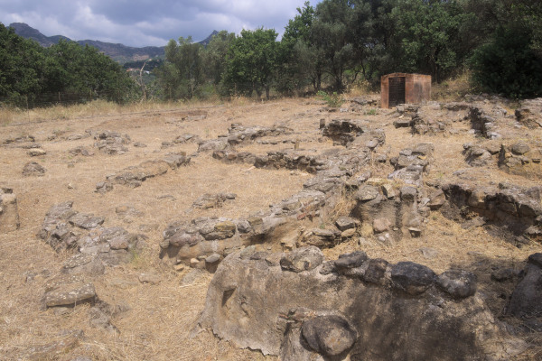 Remains of the ancient settlement still visible at the Archaeological Site of Viglatouri Hill.