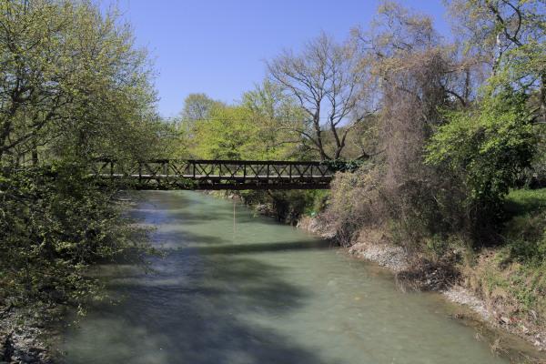 An iron bridge and the flow of Manikiatis Stream through lush vegetation.