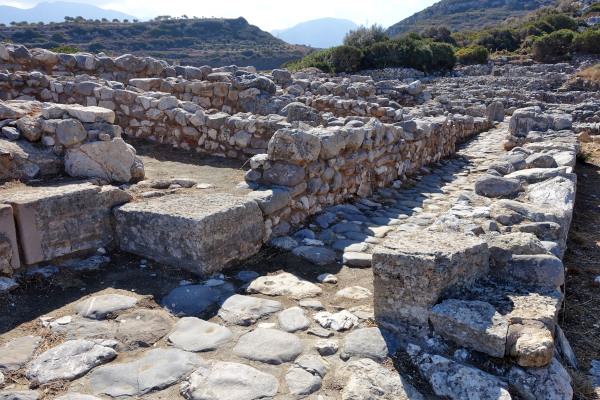 An image of remains and foundations of the Archeological Site of Ancient Gournia.
