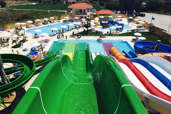 A picture showing the waterslides and a part of the facilities of the Waterpark Kariba at Paralia of Katerini.