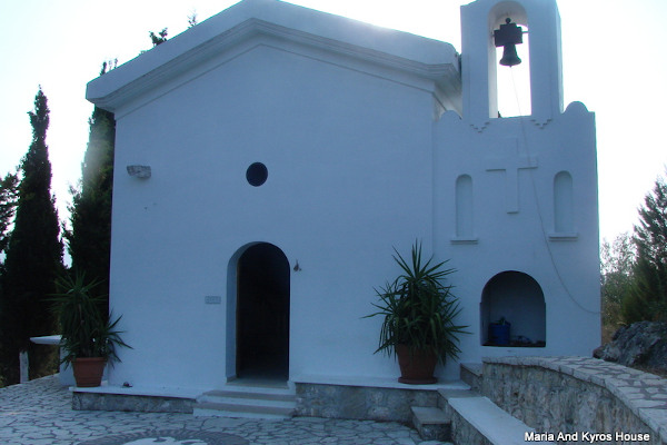 The front side and the main entrance of the Holy Church of Agia Eleni of Parga.