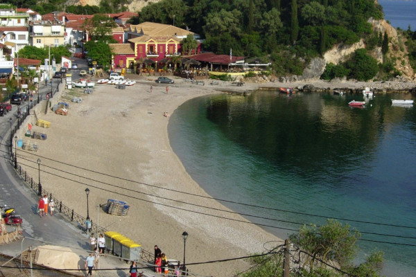An overview of the Krioneri Beach of Parga.
