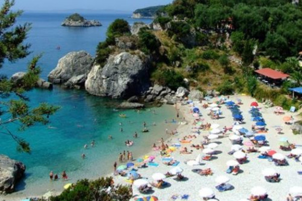 A panoramic picture of the beach of Piso Krioneri of Parga.