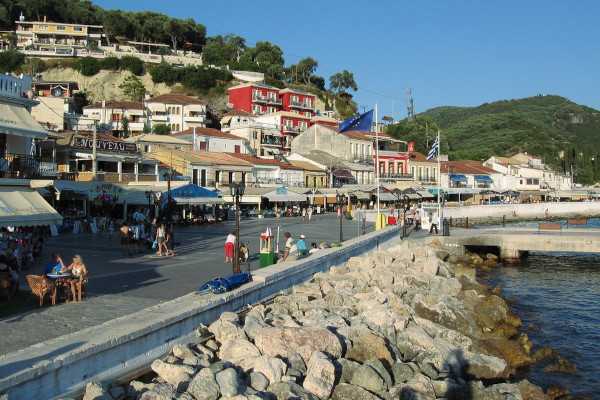 A photo of the seafront promenade and a part of the settlement of Parga.