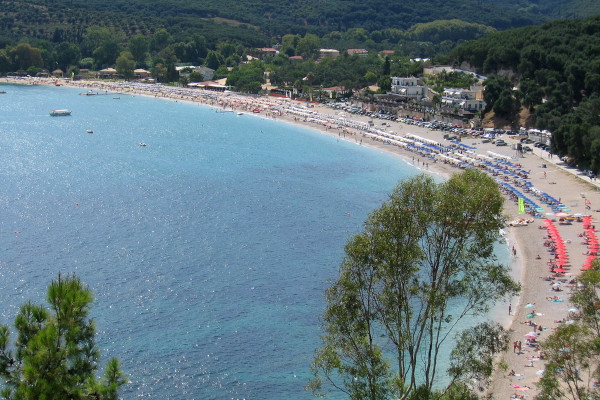 A panoramic picture of the beach of Valtos close to the settlement of Parga.