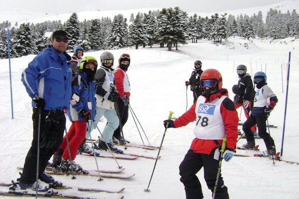 A group of skiers during a competition at Parnassos Ski Centre.
