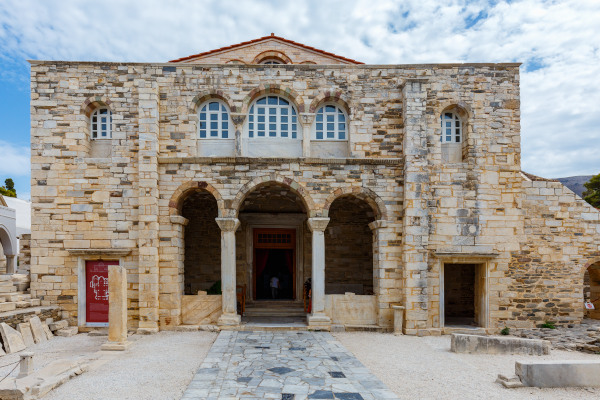 The front side and the main entrance of the Panagia Ekatontapiliani church in Parikia the central village of Paros.