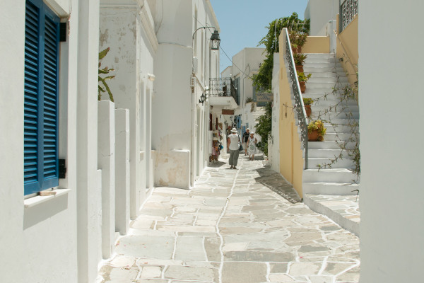 The main street in the old part of the village of Lefkes on the island of Paros.