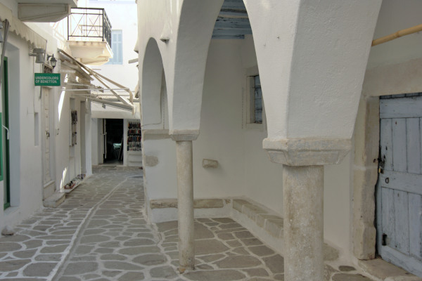 Typical narrow street in the main settlement of Parikia the capital of Paros.