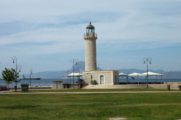 A photo showing the stone-built Lighthouse of Patras.