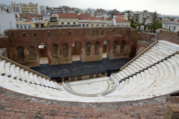 The interior of the Roman Odeon of Patras restored and lined with white marble.
