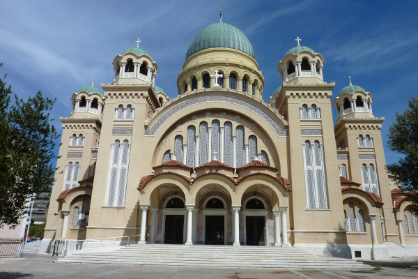 The front side and the main entrance of St. Andrew Cathedral of Patras.
