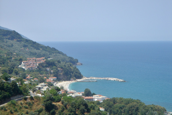 The settlement of Agios Ioannis and a part of the Agios Ioannis Beach at Mouresi of Pelion.
