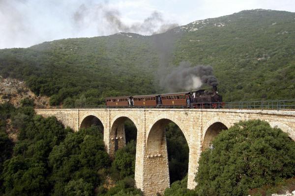 The train of Pelion passes over the stone-built five arched bridge of Kalorema.