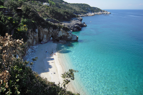 A panoramic photo of the Mylopotamos beach at Mouresi of Pelion.