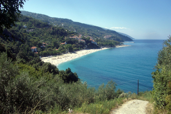 A panoramic picture showing the beach of Papa Nero at Ag. Ioannis, Mouresi.