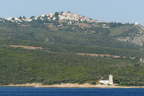 The village of Trikeri on the top of the hill at the south end of the Magnesia Peninsula.