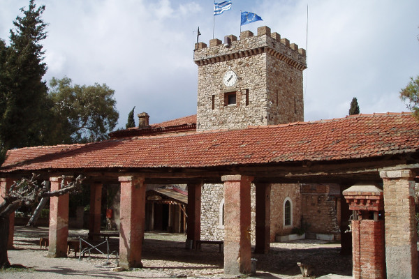 A tower and other facilities of the Achaia Clauss Winery of Patras in the Peloponnese.