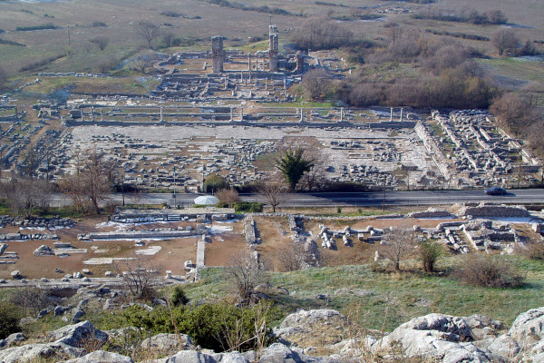 A panoramic view of the archaeological site of ancient Philippi.