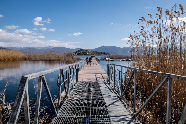 The pedestrian bridge that connects the island of Agios Achillios in Small Prespa with the mainland.