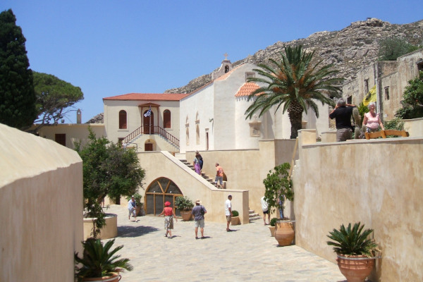The inner yard and the buildings of the Piso Moni in Preveli on the island of Crete.
