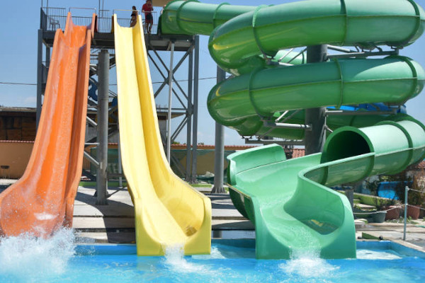 Water slides in the Posidonio Water Park in Prosotsani of Drama.