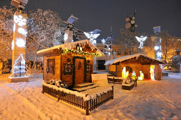 Christmas manger in the snowy center of Ptolemaida.