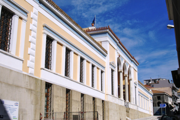 A picture showing the front side of the Archaeological Museum of Pyrgos.