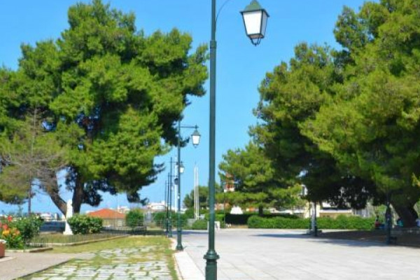 A photo of a paved road surrounded by big trees inside the Eparhio Hill (park) of Pyrgos.