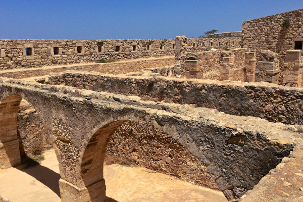 The well-preserved walls of the fortification of the Citadel (Castle) Fortezza in Rethymno.