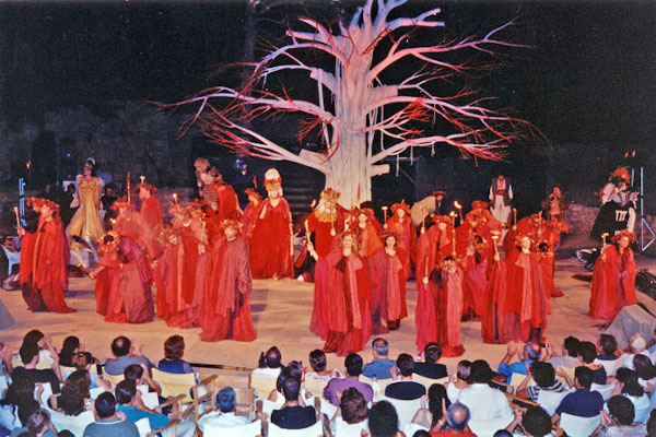 Actors on the stage during a performance of the Renaissance Festival of Rethymno on Crete.