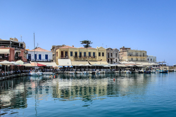 A part of the Old Venetian Harbour of Rethymno including the coastal cafeterias and restaurants.
