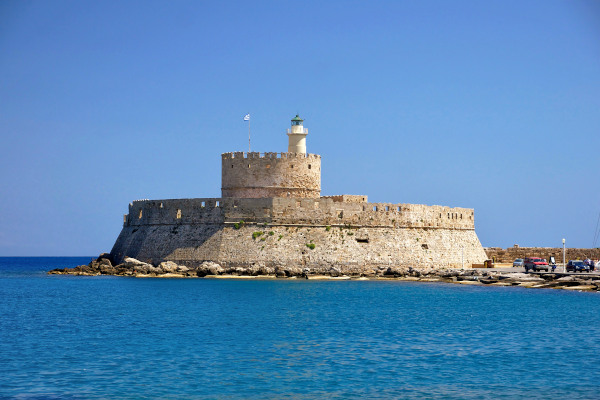 A picture showing the Fort of St. Nicholas, at the port of Rhodes Town.