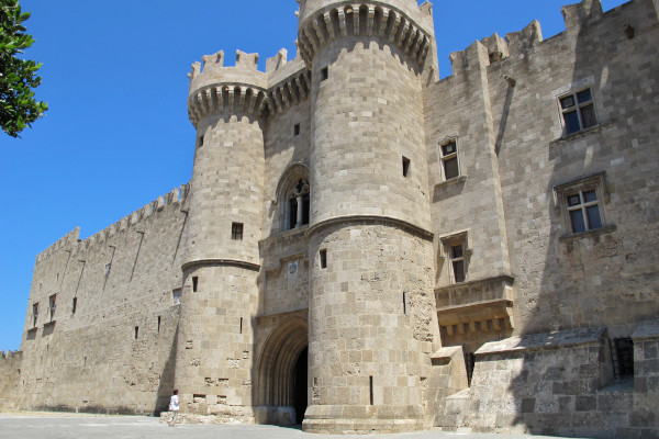 The front side and the main entrance of the Palace of the Grand Master of the Knights of Rhodes.